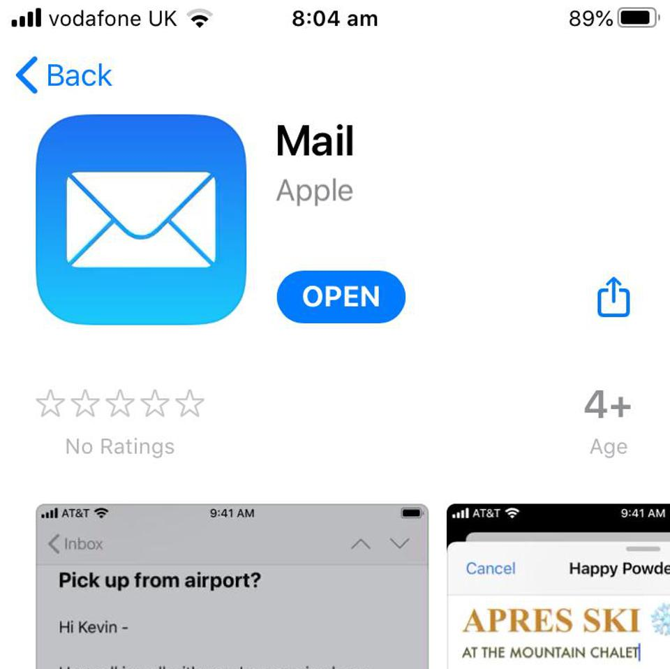 Apple Mail app with no user ratings