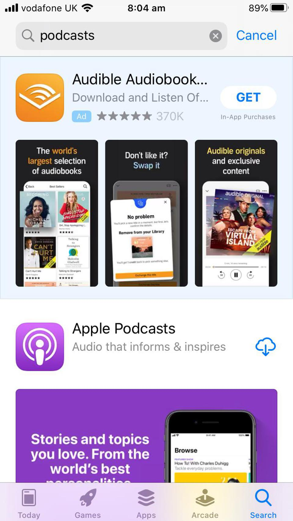 Search results for ″podcasts' in the iOS App Store