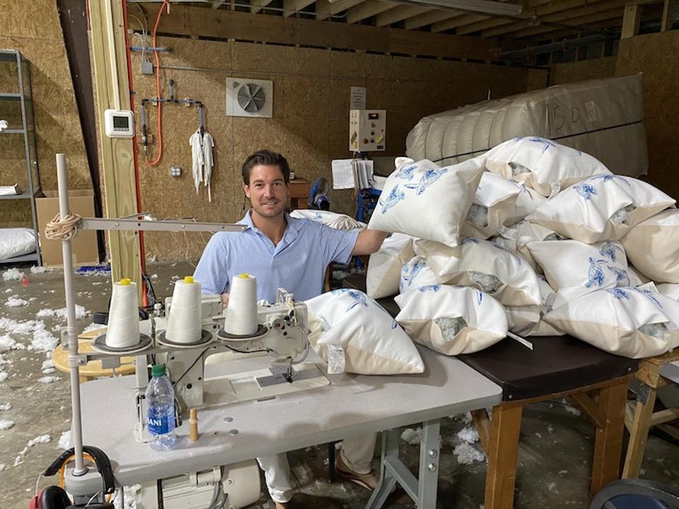 Southern Charm's Craig Conover sewing pilows.