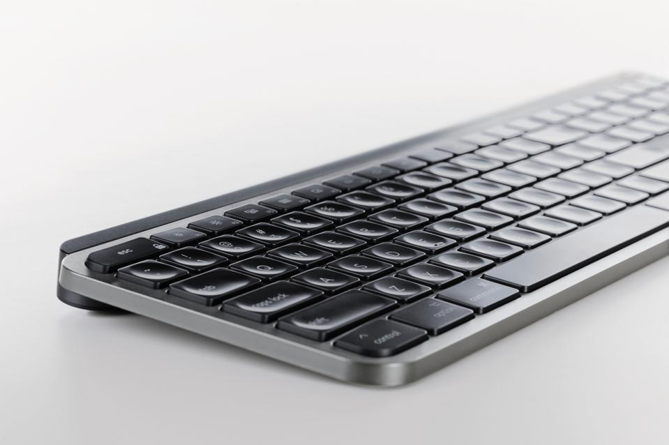Side view of Logitech MX Keys for Mac