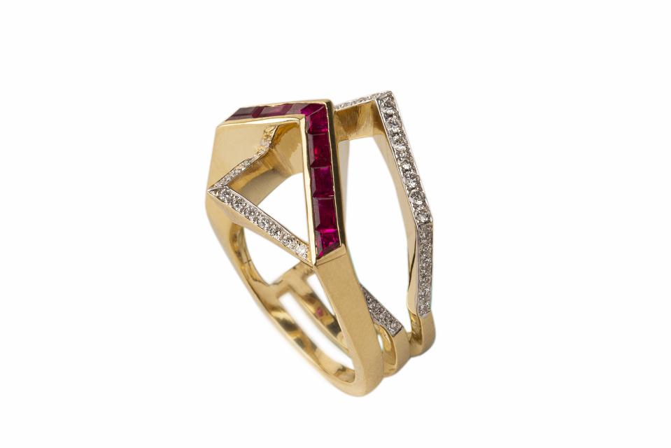 Gaelle Khouri Transverse Ring in 18K yellow gold with ruby and diamond, $4,000