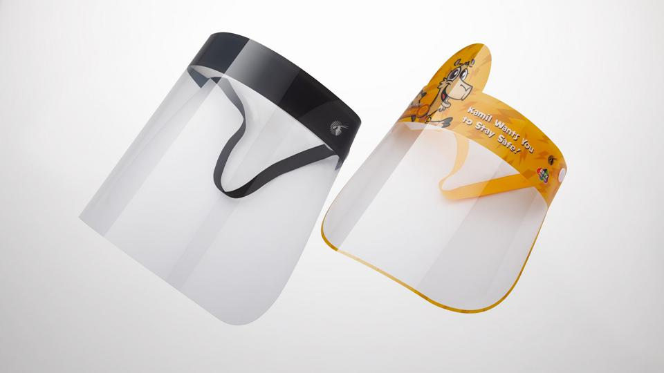 Plastic face shields in adult and child sizes