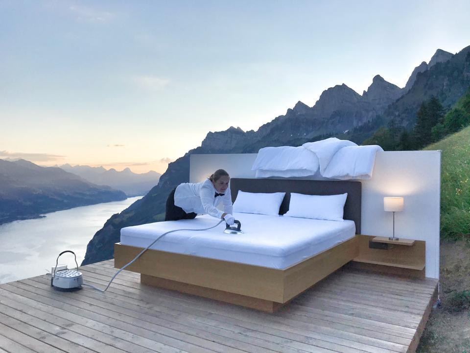 Ironing the sheets at Zero Real Estate