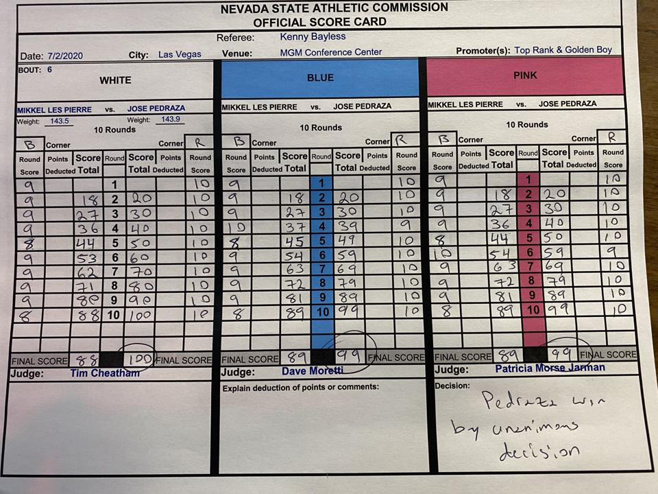 Jose Pedraza vs. Mikkel LesPierre Official Scorecard by the Nevada State Athletic Commission June 2 Las Vegas