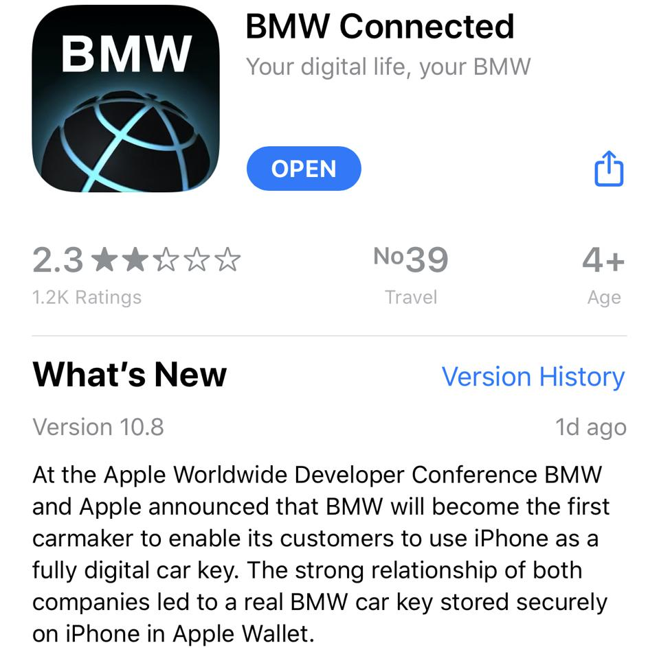 The BMW Connected app announces compatibility with Virtual Car Keys for iPhone