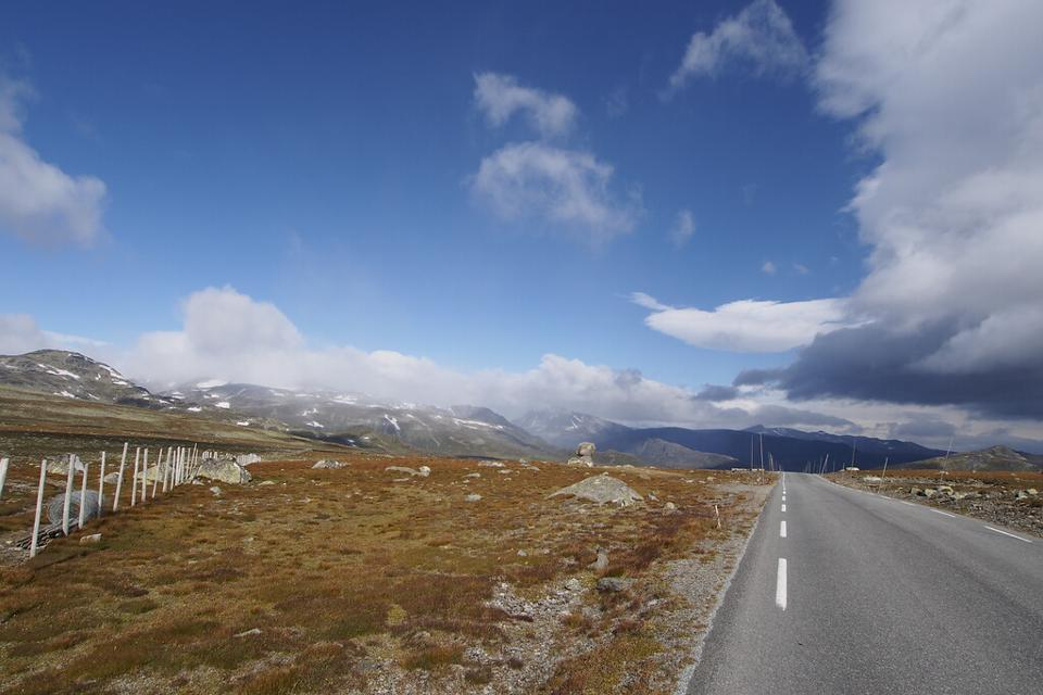 The Valdresflye mountain road in Norway soars to almost 4,500 feet above sea level.