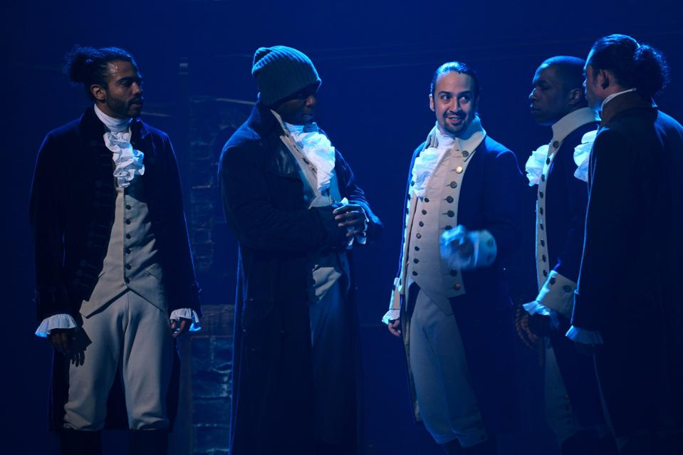 Okieriete Onaodowan performing as Hercules Mulligan in HAMILTON, the filmed version of the original Broadway production.