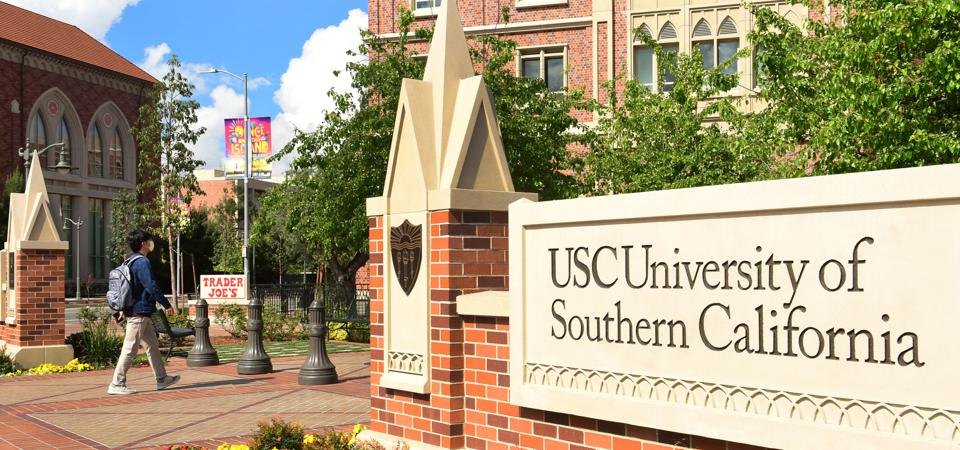 This is a photo of a sign at the University of Southern California, or USC.