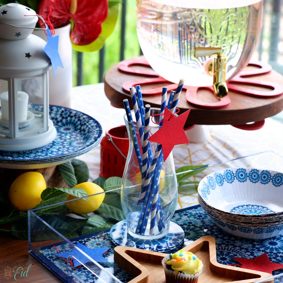 Red Star and Blue and White Striped Decorations on a tray.