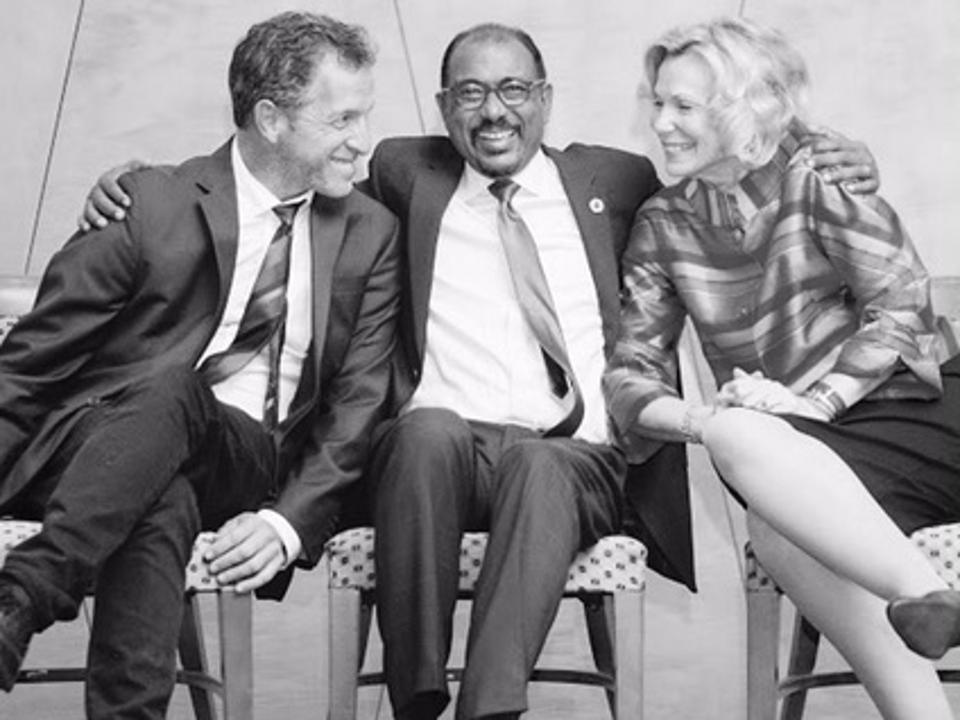 UNAIDS Global Goodwill Ambassador, Kenneth Cole, with UNAIDS Executive Director Michael Sidibe and Ambassador Deborah Birx at the 71st United Nations General Assembly in 2016