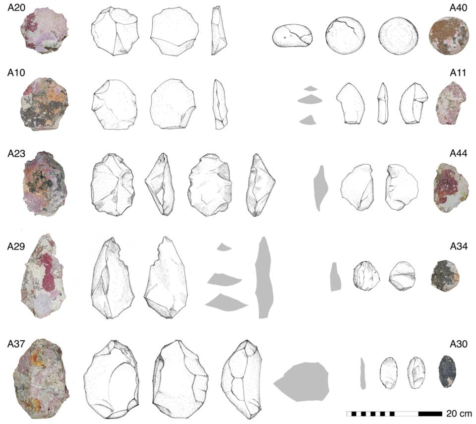 Images and drawings of stone tools found at the site.
