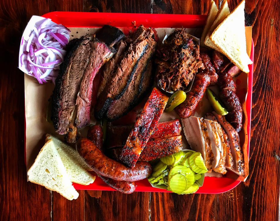 Tray of Texas-style BBQ