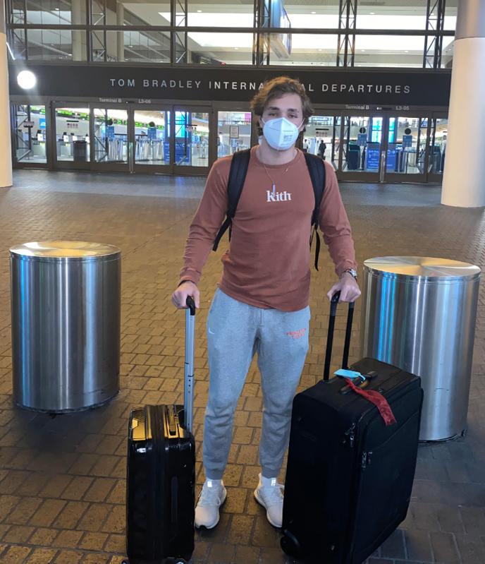 person outside LAX during Coronavirus