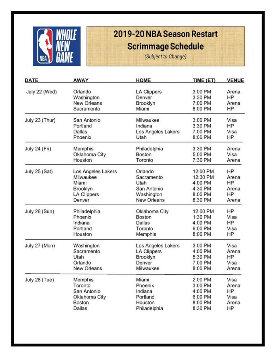 2019-20 NBA Season Restart Scrimmage Schedule