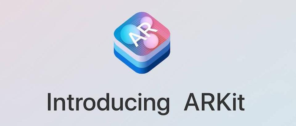 iOS-like stack of icons with the caption ″Introducing ARKit″