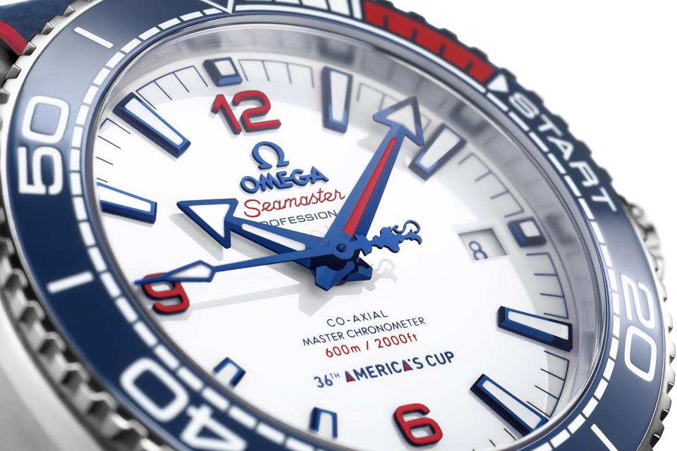 White ceramic dial of the Omega Seamaster Planet Ocean 36th America's Cup Limited Edition