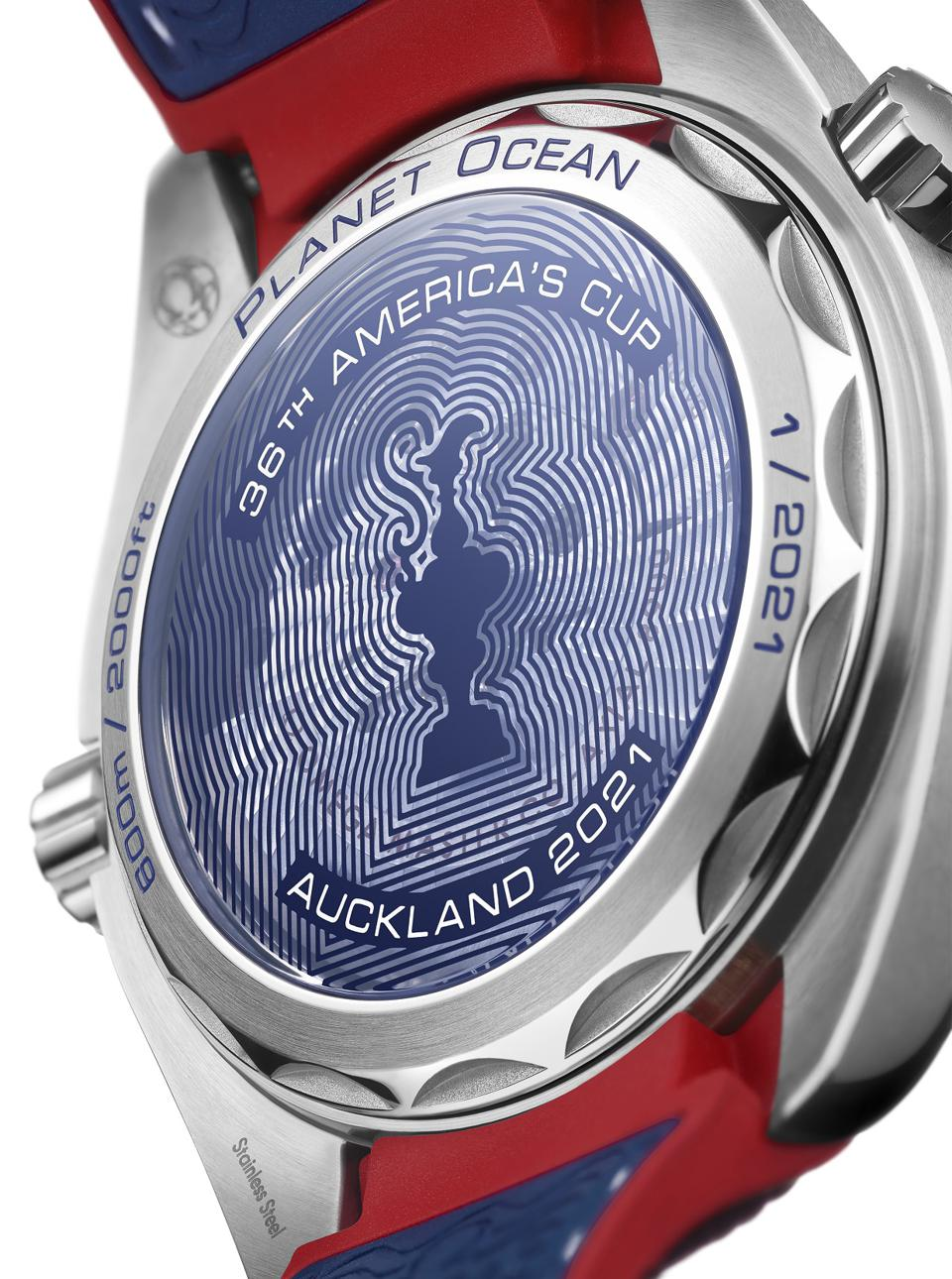 The reverse side of the Omega Seamaster Planet Ocean 36th America's Cup Limited Edition
