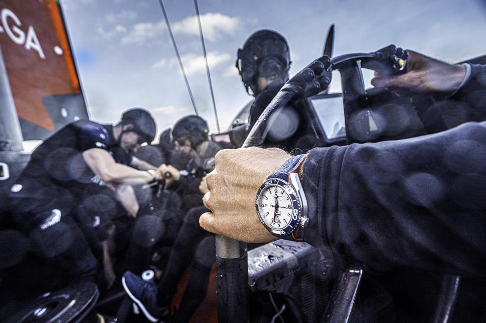 Emirates Team New Zealand's AC75 'Te Aihe' with the Omega Seamaster Planet Ocean