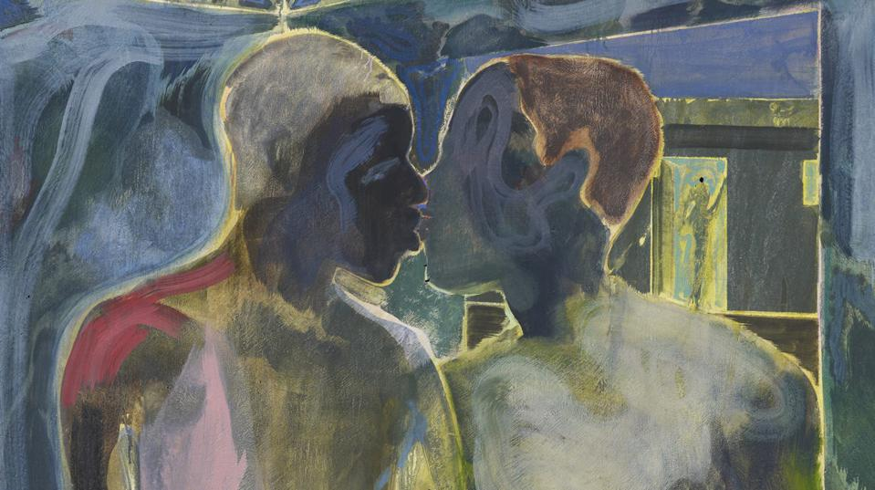 Michael Armitage, Kampala Suburb, Oil on Lubugo bark cloth, 196 x 150 cm, Private Collection, London