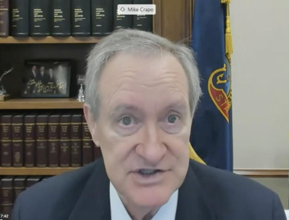 Senator Mike Crapo (R-UT) at the Digitization of Money and Payments Virtual Hearing held on Tuesday, June 30, 2020.