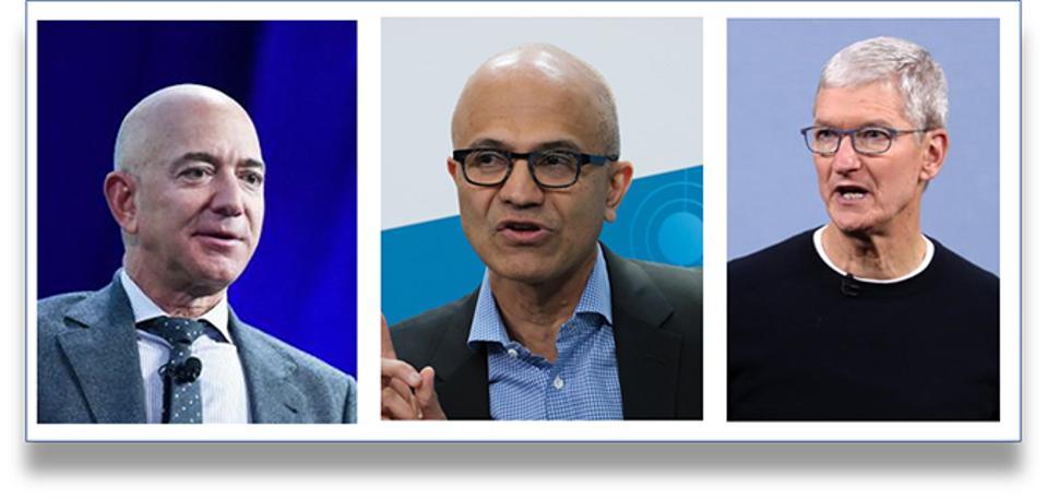 Amazon CEO Jeff Bezos, Microsoft CEO Satya Nadella; Apple CEO Tim Cook