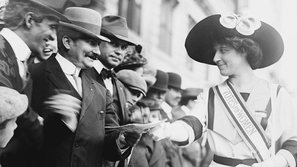 image shows a suffragette in PBS's The Vote