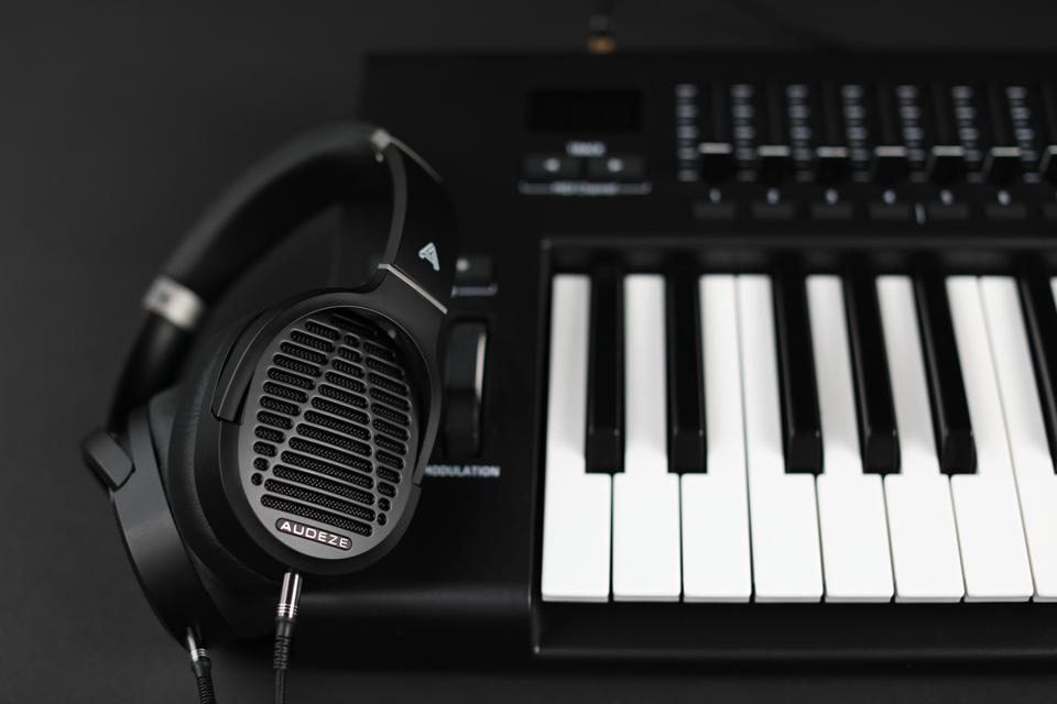 Audesze LCD-1 headphones on a musical keyboard