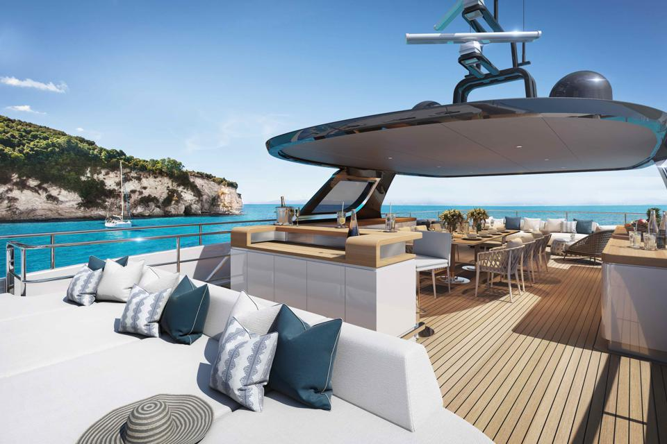 The upper deck of the new Benetti superyacht Oasis 40m