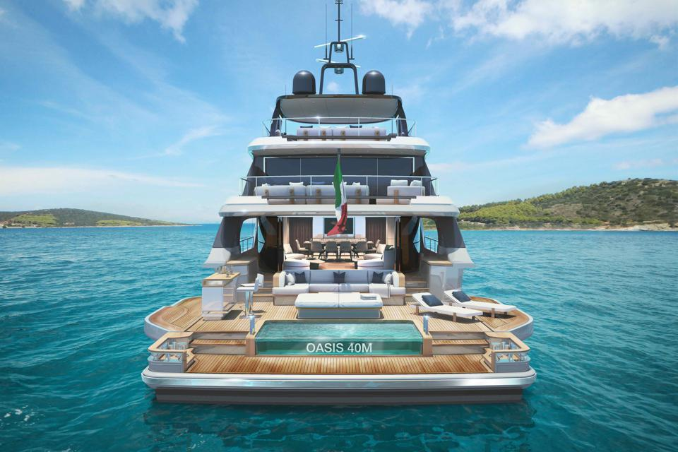 The stern of the new Benetti superyacht Oasis 40m opens up to reveal a floating beach club