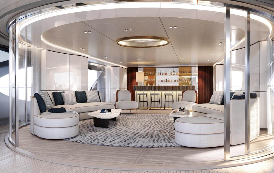 The main saloon of the new Benetti superyacht Oasis 40m