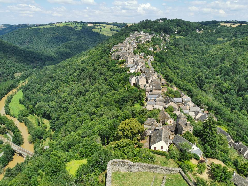 A view of Najac, from atop its royal fortress. The Medieval town in the Aveyron Department is slowly welcoming back tourists as the first summer holiday season begins following the pandemic lockdown.