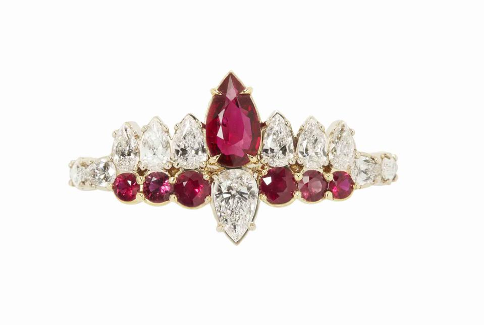 Ara Vartanian double ring in 18k yellow gold with diamond and ruby, price on request