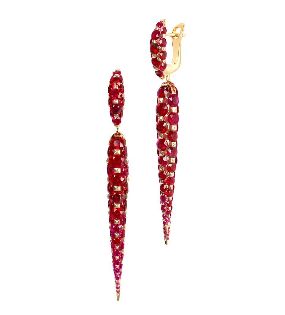 Boghossian Les Merveilles earrings in 18K yellow gold with ruby, price on request