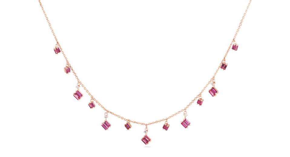 Suzanne Kalan Fireworks drop necklace in 18K gold with ruby and diamond, $3,600