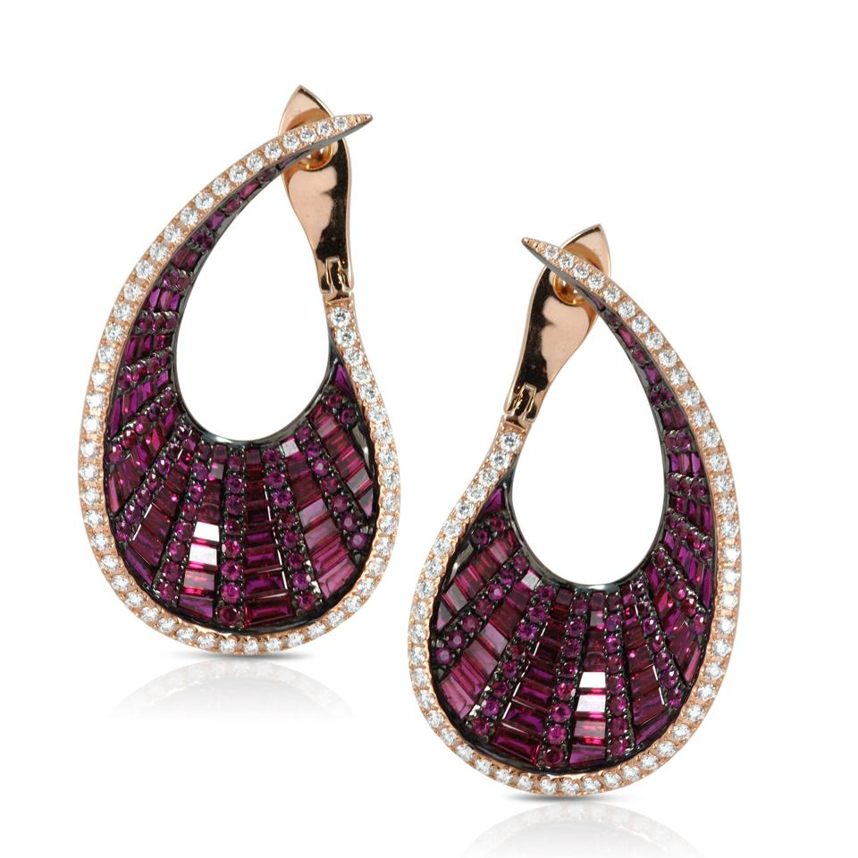 Kavant & Sharart earrings in 18K rose gold with ruby and diamond, $19,250