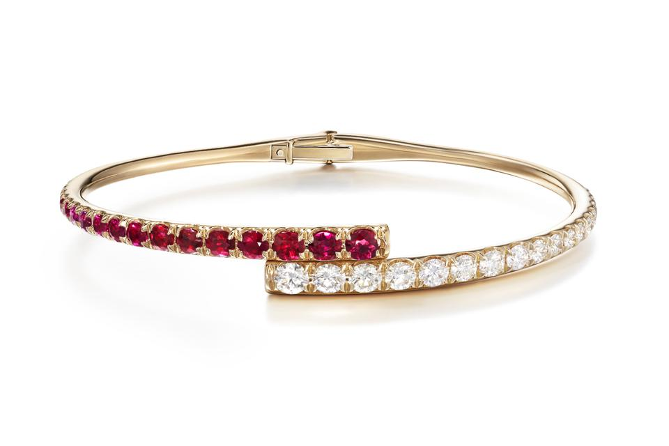 Melissa Kaye Lola cuff in 18K pink gold with ruby and diamond, $14,950