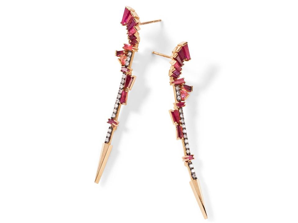 Nak Armstrong Filly earrings in 20K rose gold with ruby, rubellite, and peach tourmaline, $5,950