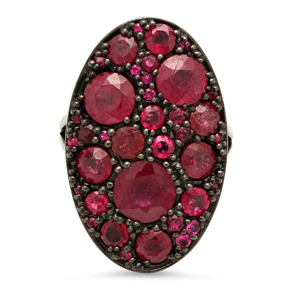 Colette Guillaume Cluster ring in 18K black gold with ruby, $11,250