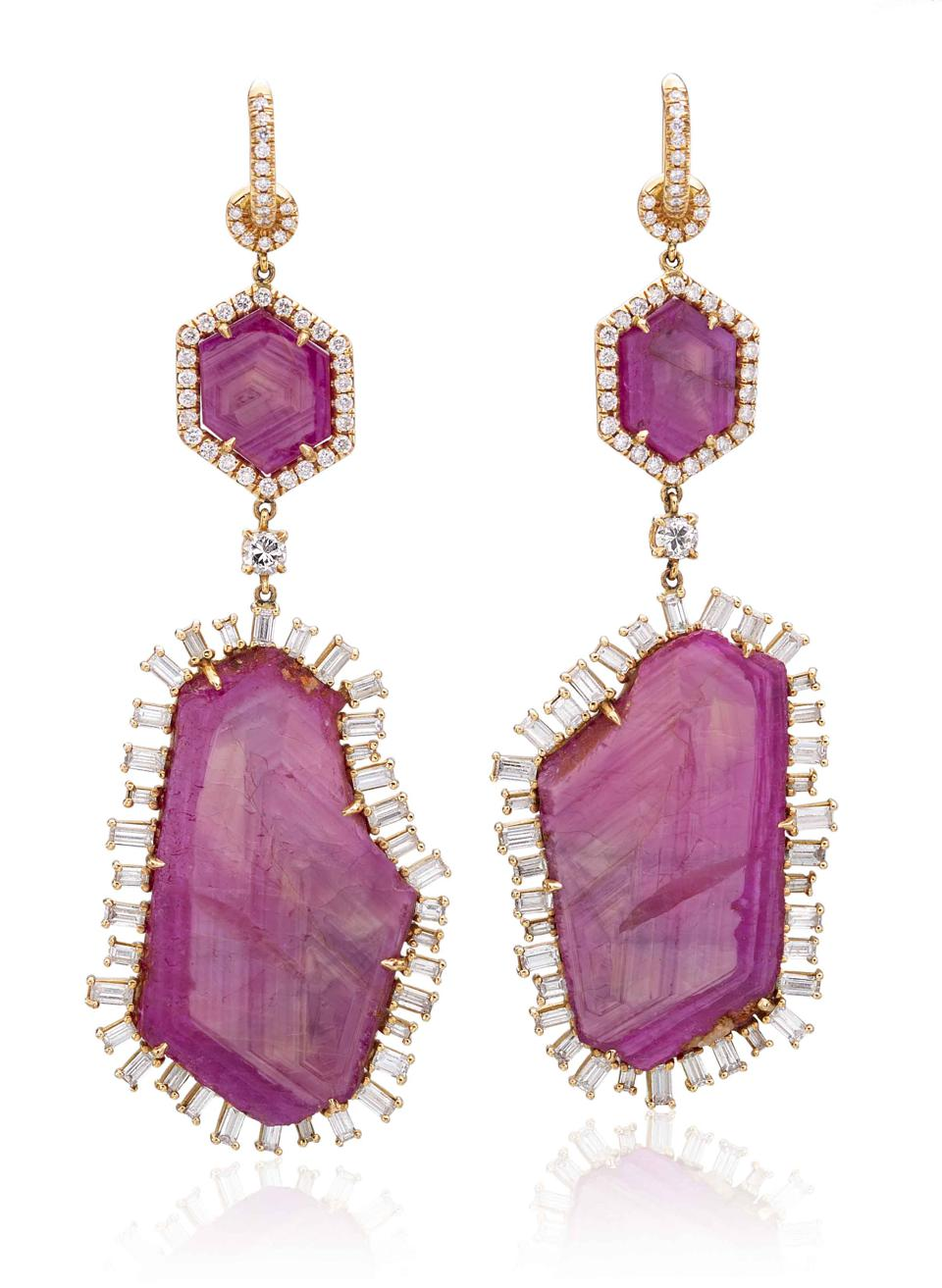 Nina Runsdorf earrings in 18K rose gold with diamond and ruby, price on request