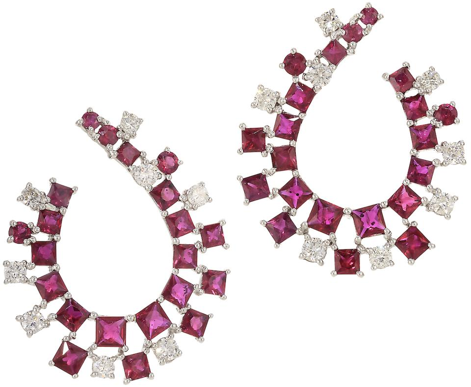 Graziela earrings in 18K withe gold with ruby and diamond, $10,000