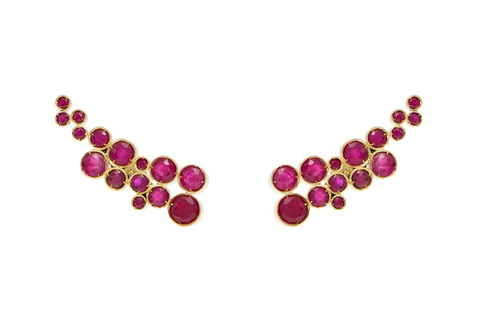 Larissa Moraes Jewelry Salvias earrings in 18K gold with ruby, $8,816