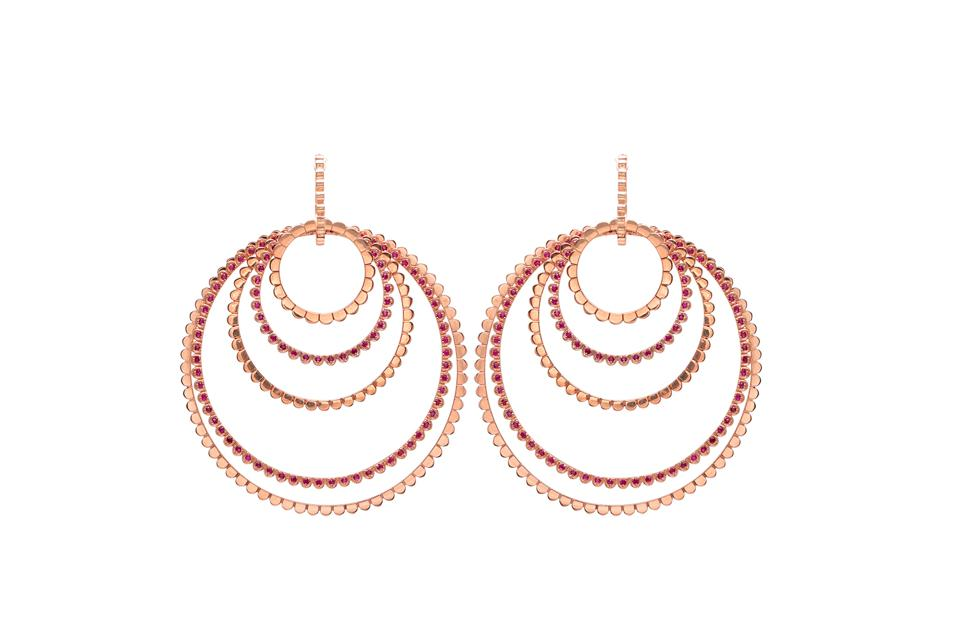 Nancy Newberg earrings in 18K rose gold with ruby and diamond, $10,500