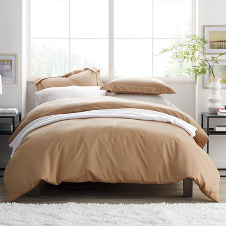 450-Thread Count Wrinkle-Free Cotton Sateen Duvet Cover, Full