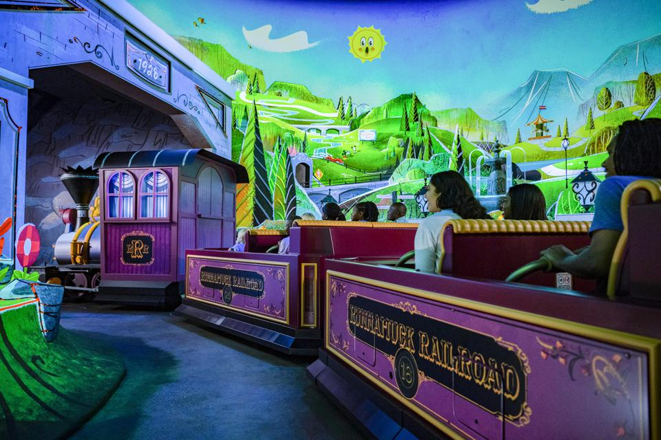 Guests board Runnamuck Railroad on Mickey and Minnie's Runaway Railway.