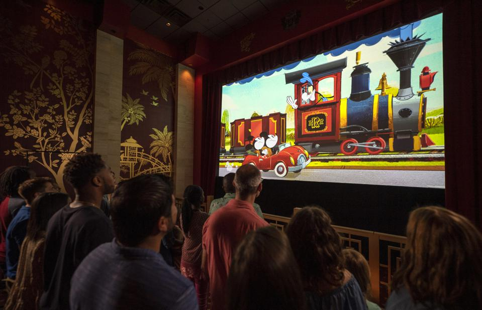 Theater showing of Perfect Picnic for Mickey and Minnie's Runaway Railway.