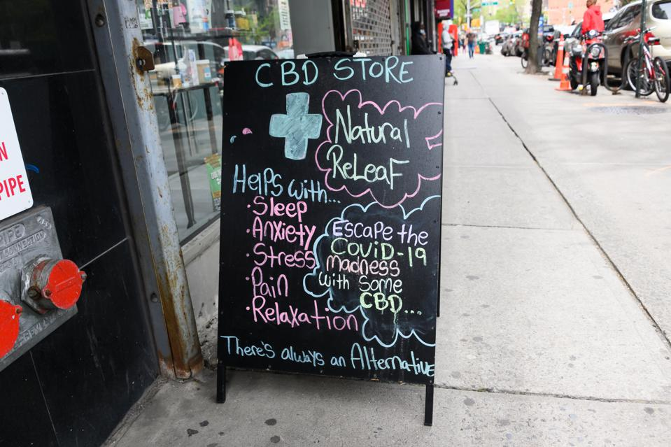 A sign placed outside a CBD store in Murray Hill during the coronavirus pandemic.