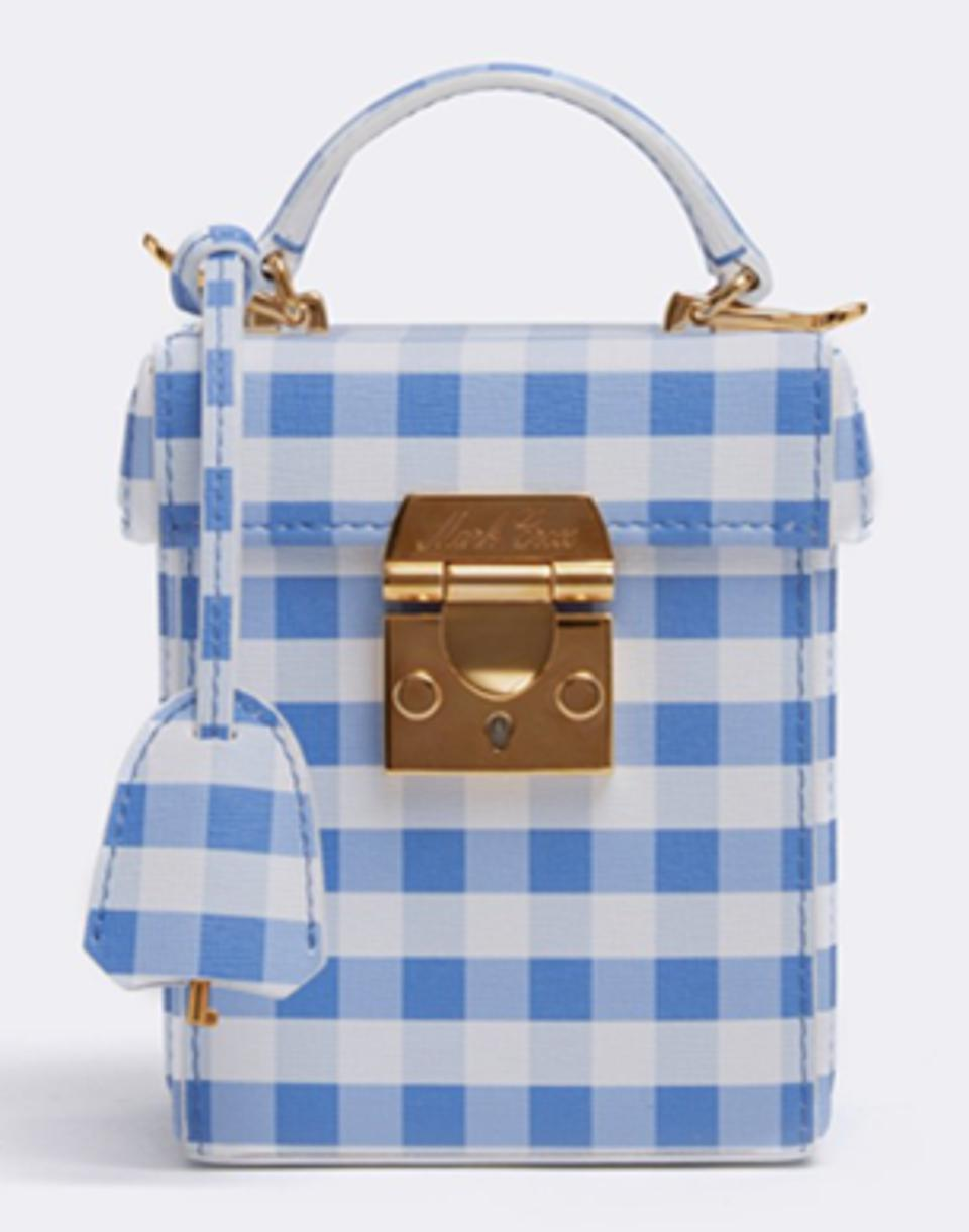 Image courtesy of Mark Cross Mark Cross' Grace Cube Leather Box Bag in Saffiano Gingham Regatta Blue