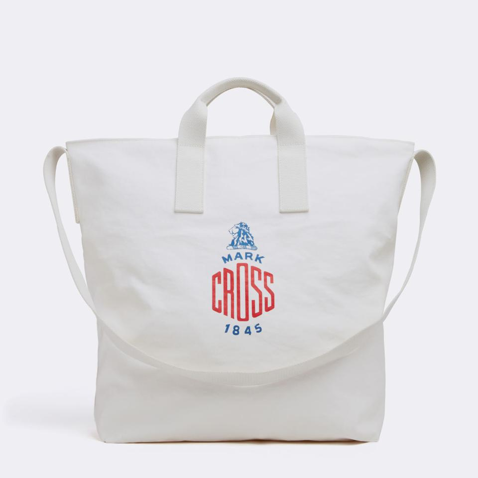 The Mark Cross Weatherbird Medium Tote Bag in Canvas White