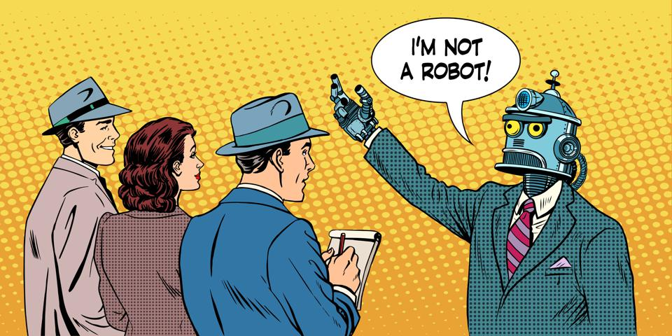 Robot speaking to the media and stating, ″I am not a robot!″