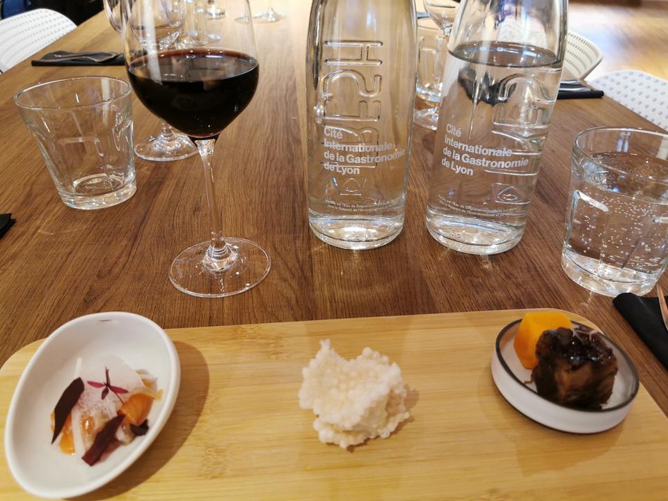 Lyon's Cité Internationale de la Gastronomie offered food tasting in its dining room.